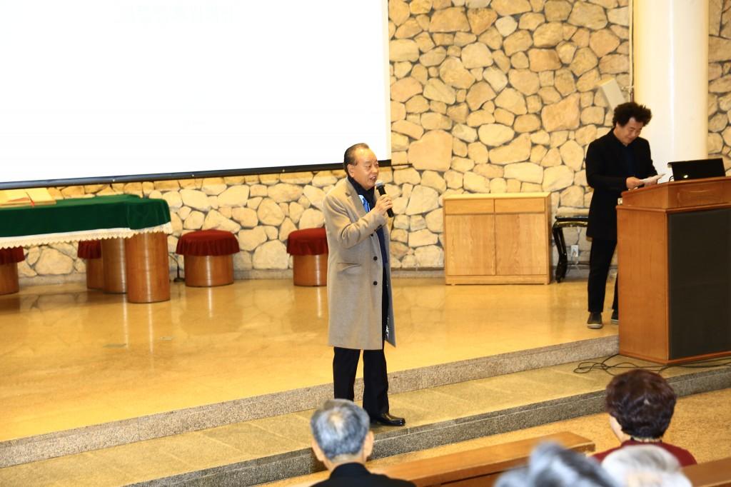 평화3000 15주년 축사를 전하는 이중명 아난티 회장